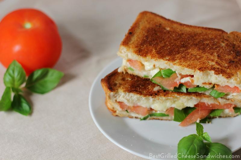 tomato mozzarella basil grilled cheese sandwich recipe