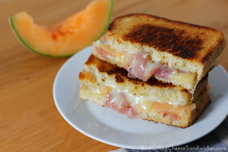 asiago prosciutto melon grilled cheese sandwich recipe