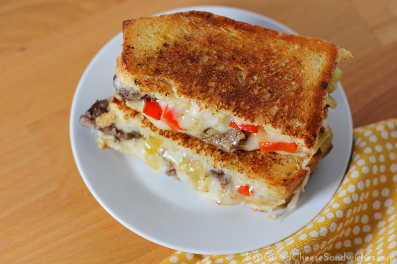 philly cheesesteak grilled cheese sandwich recipe with peppers and onions