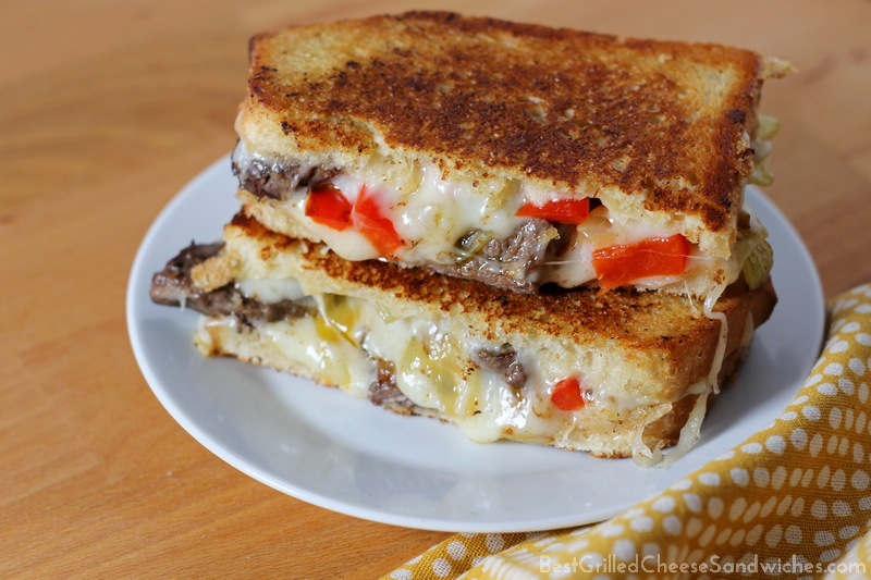 recipe for a philly cheesesteak grilled cheese sandwich